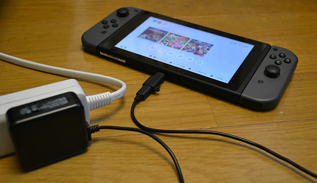 スマホ(Android)の充電ケーブルにUSB Type-Cの変換アダプタを使ってニンテンドースイッチを充電