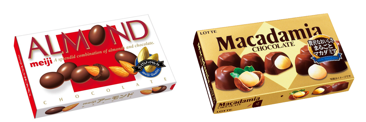 『明治のアーモンドチョコ』と『ロッテのカダミアナッツ』