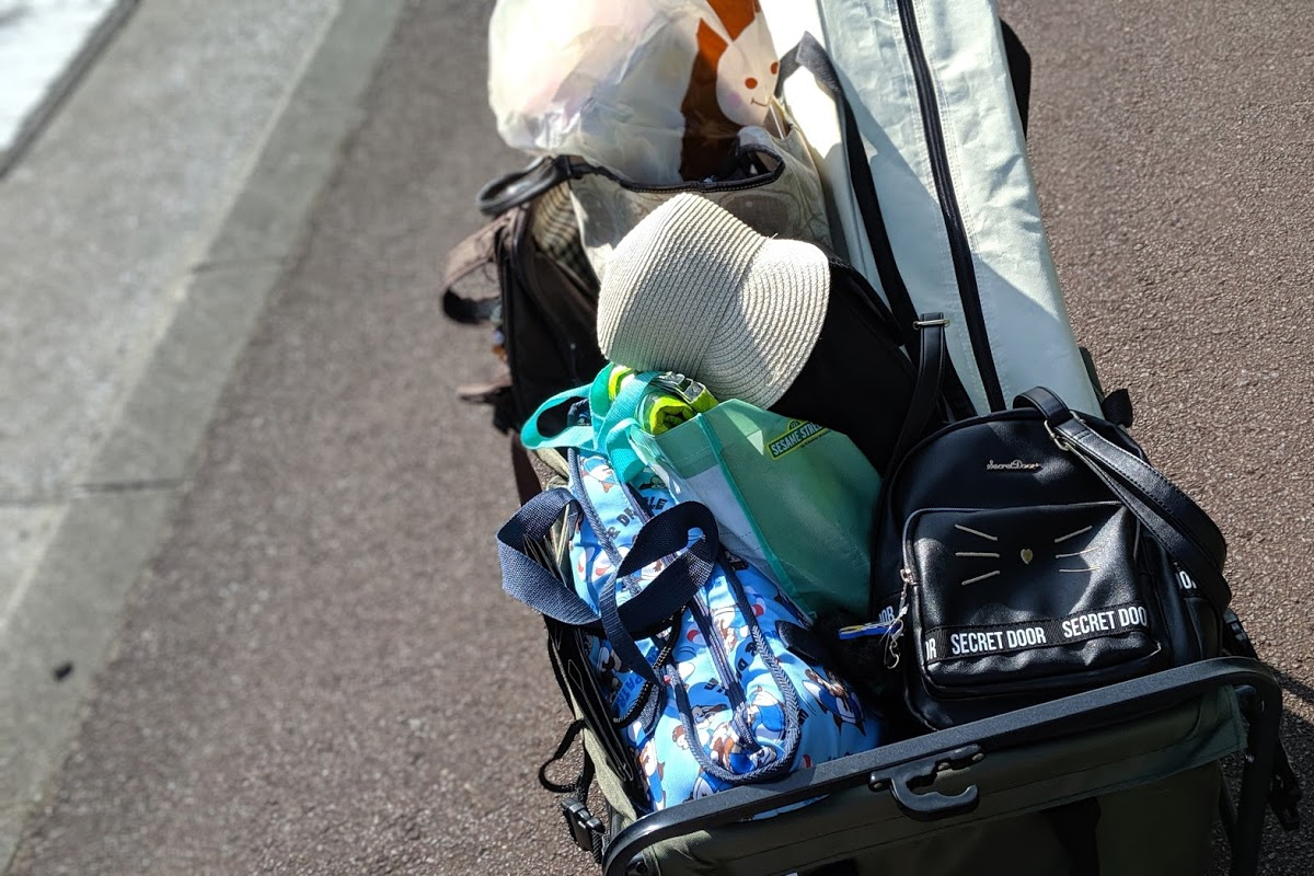 キャリーワゴンに詰め込んだ荷物