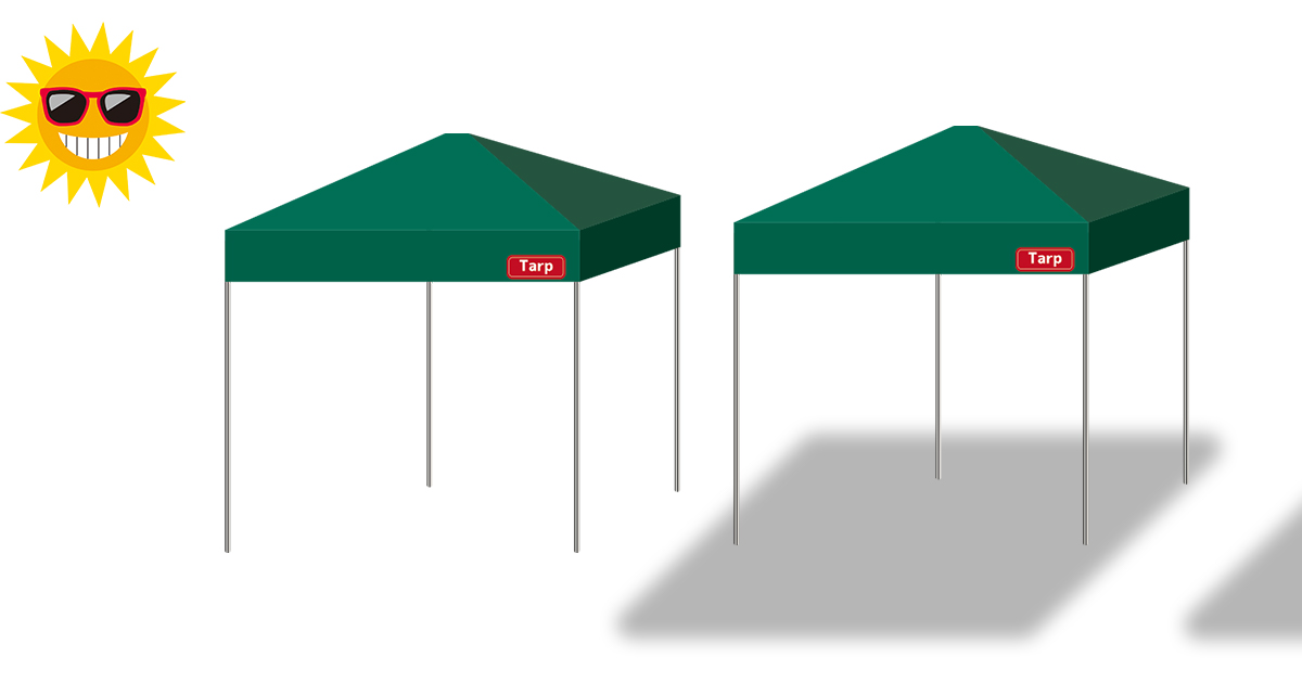 隣の人に影を作ってしまうテント