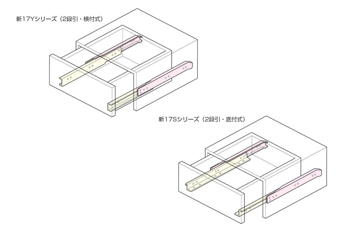 スライドレールの横付け式・底付け式の取り付け図