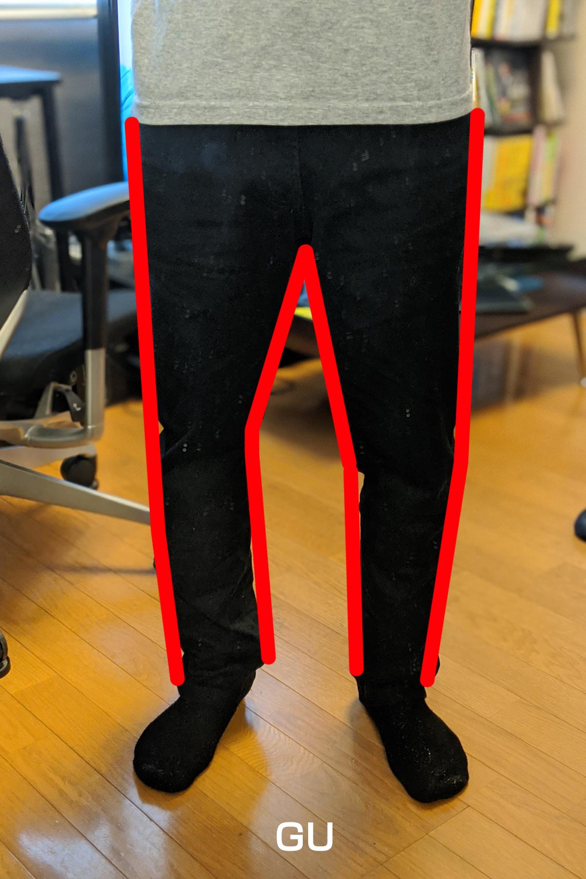 GUのストレッチカラースリムパンツを履いたときのライン