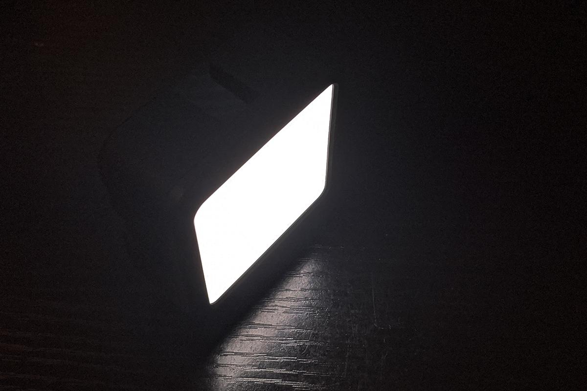 Ulanzi VL49LEDビデオライトで実際に光をONにした様子