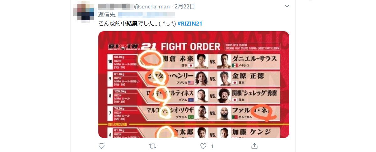TwitterでRIZINの試合結果をネタバレする人