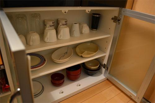 ニトリ カウンターの食器収納スペース