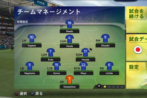 FIFA14 日本代表スターティングメンバー