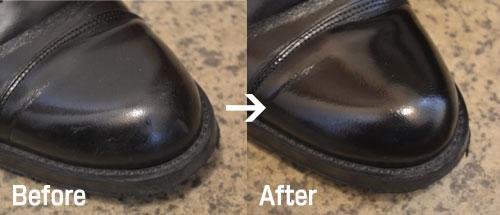 皮靴の傷を修復する前と後